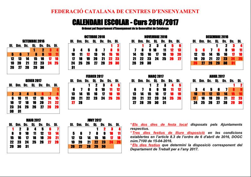 Calendari lectiu Escola Aloma 2016-2017